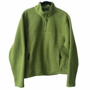 L.L. Bean Green Fleece 1/4 Snap Sweater XL